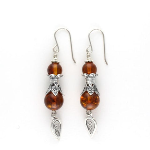 antique earrings amber