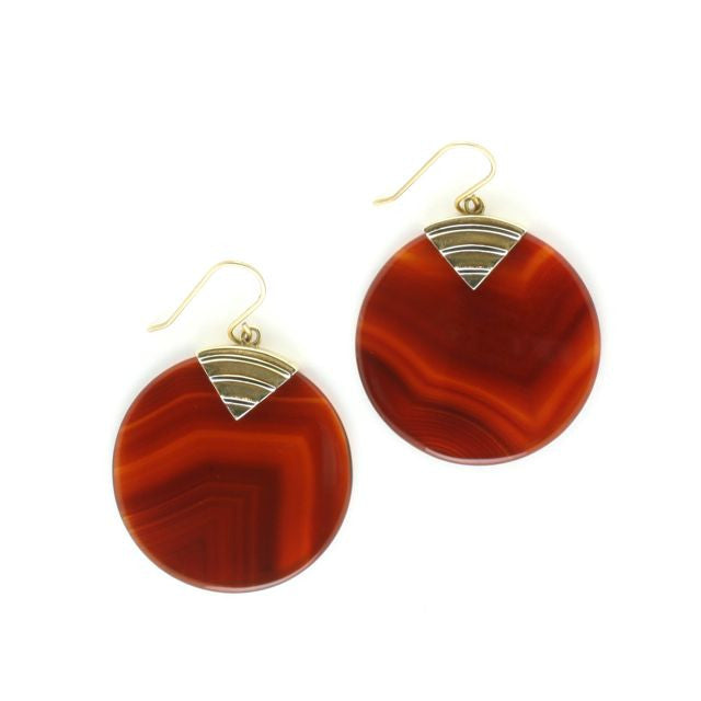 art deco disc earrings carnelian