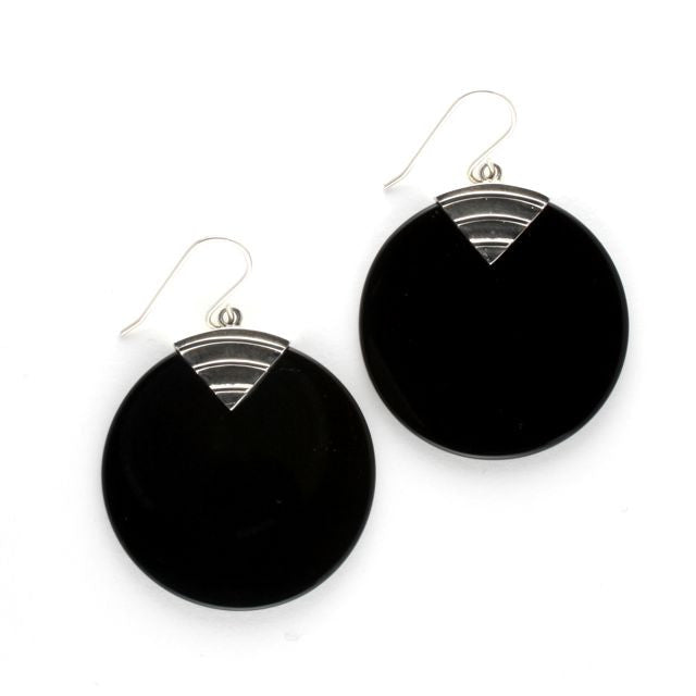 art deco disc earrings onyx - Art de Vidal - Portobello Lane