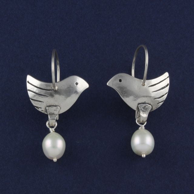 bird earrings with pearls