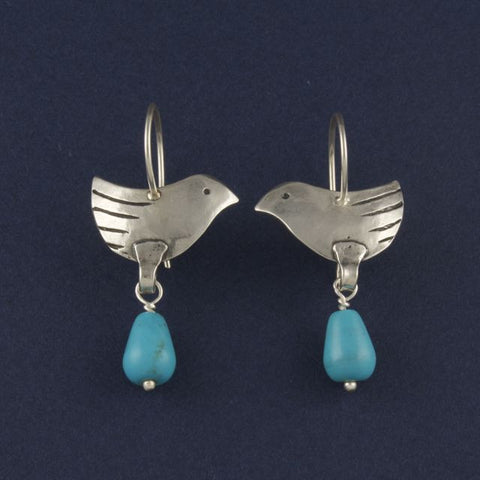 bird earrings with turquoise - Ruth - Portobello Lane