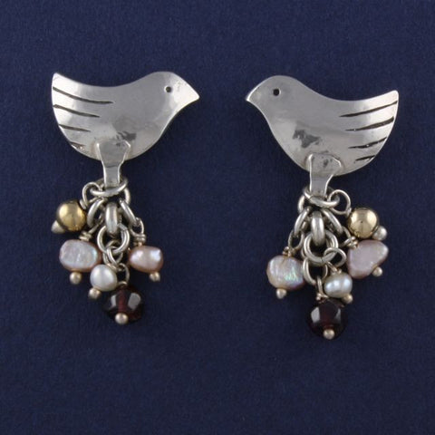 bird stud earrings with garnet and pearl - Ruth - Portobello Lane