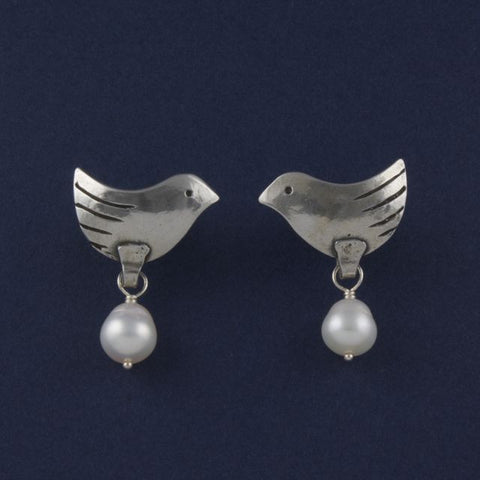 bird stud earrings with pearl - Ruth - Portobello Lane