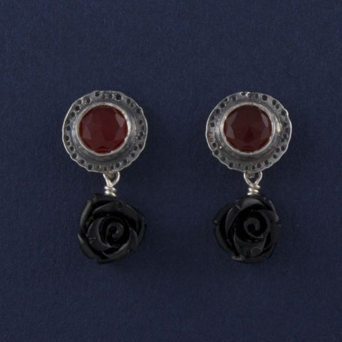 gemstone stud earrings onyx and carnelian - Ruth - Portobello Lane