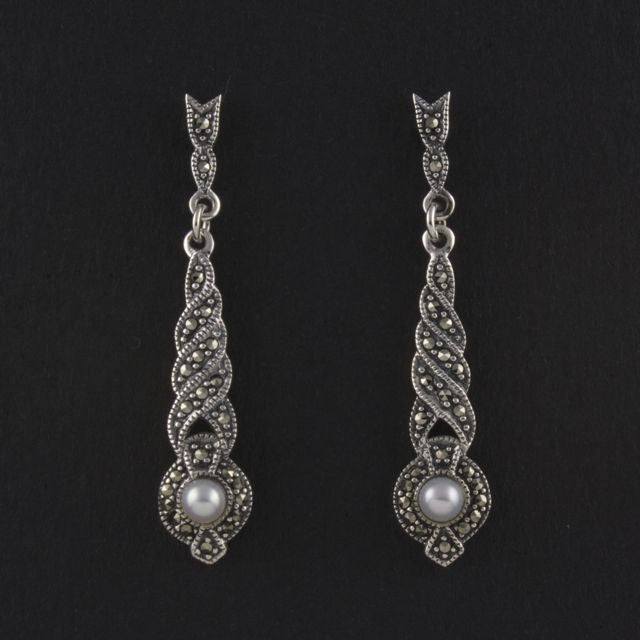 marcasite earrings pearl - Belle Artes - Portobello Lane