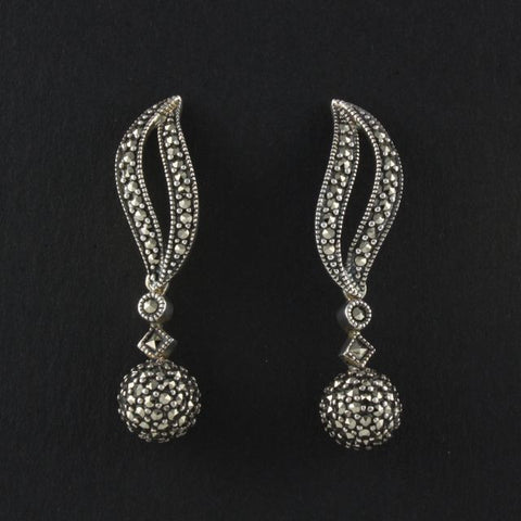 art deco leaf & ball earrings