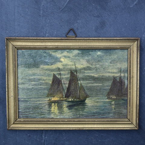 antique French miniature oil painting