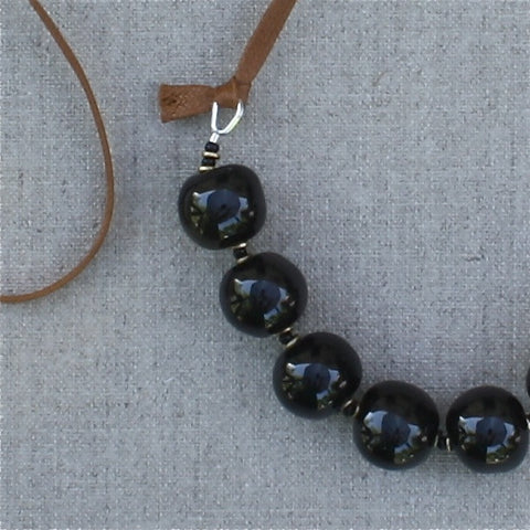 black and chestnut ceramic & organic cotton necklace - Portobello Lane - Portobello Lane
