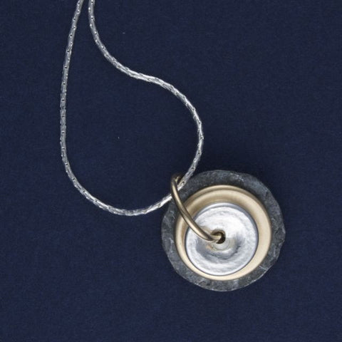 silver & gold discs necklace - Lior - Portobello Lane