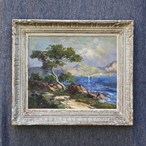 SOLD! vintage French oil painting - Cote d'Azur - Portobello Lane
