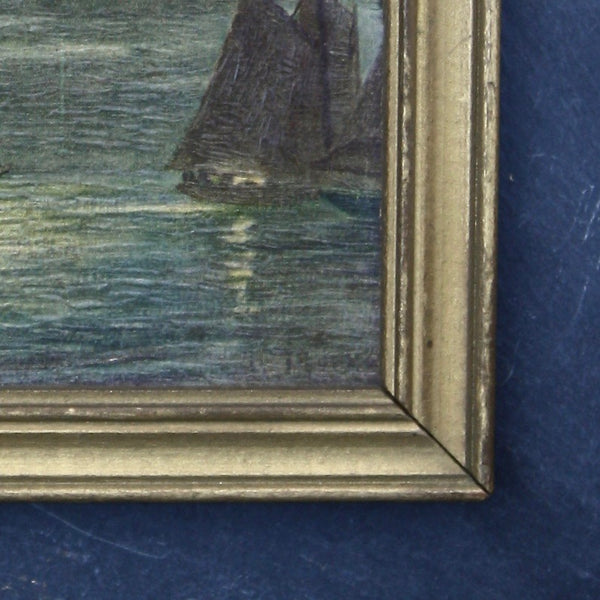 SOLD! antique French miniature oil painting - nous deux & the Cat - Portobello Lane