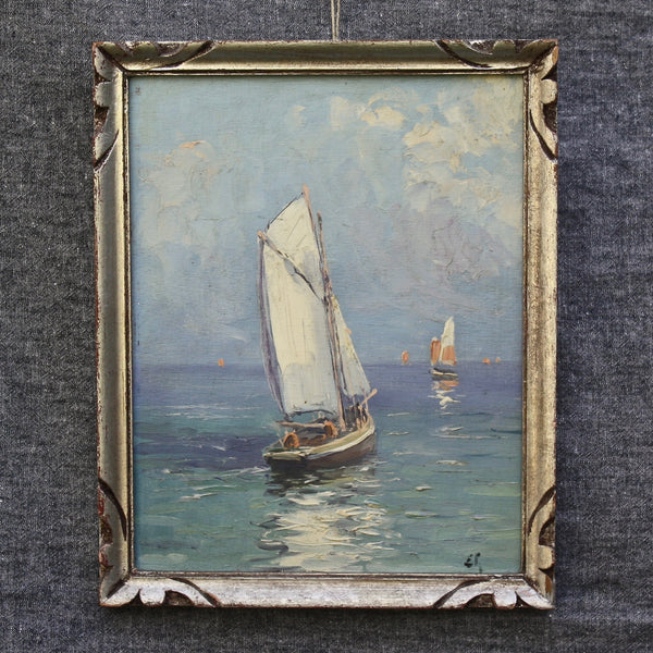 SOLD! antique French oil painting sail boats - nous deux & the Cat - Portobello Lane
