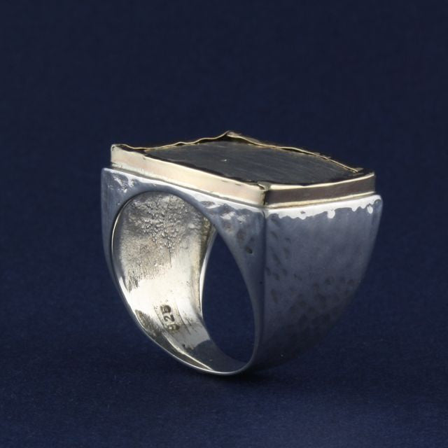 silver & gold fold edge ring - Portobello Lane