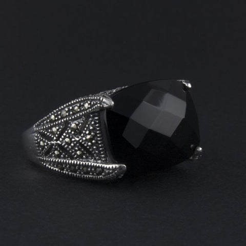 art deco ring onyx - Portobello Lane