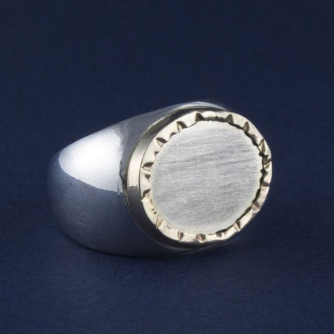 silver & gold ring oval fold - Ithil Metalworks - Portobello Lane