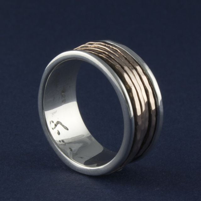 silver and rose gold meditation ring - Ithil Metalworks - Portobello Lane