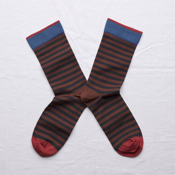 socks chestnut stripe - Bonne Maison - Portobello Lane