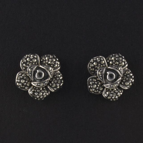 marcasite stud earrings roses - Belle Artes - Portobello Lane