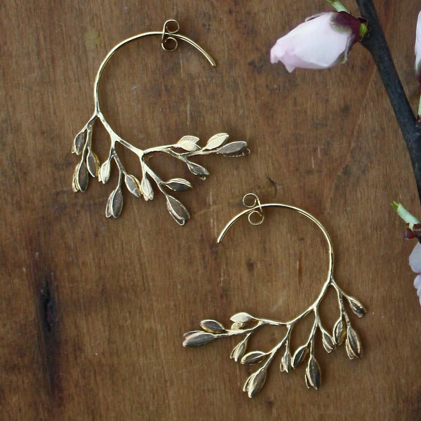 sun blossom leaf earrings - Alex Monroe - Portobello Lane