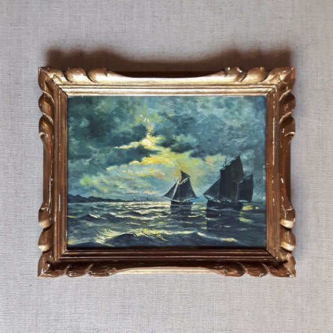antique French seascape oil painting - full moon sailing - nous deux & the Cat - Portobello Lane