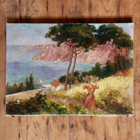 antique French oil painting - Provence flower gatherer - nous deux & the Cat - Portobello Lane
