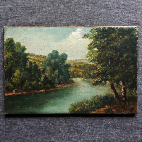 SOLD! antique French Romantic oil painting - river - nous deux & the Cat - Portobello Lane