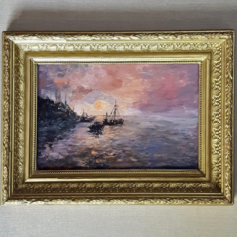 antique French seascape oil painting - lilac sunset - nous deux & the Cat - Portobello Lane