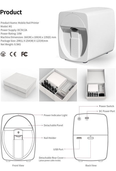 Tat'z Nail'z NEW Mini Printer - White