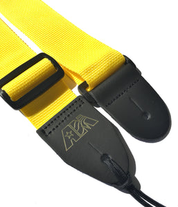 A Guitar Strap Yellow Nylon Adjustable Acoustic Electric Bass Mandolin Made In USA