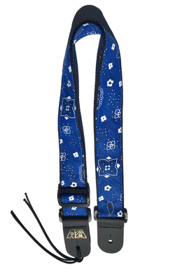 Guitar Strap Blue Bandana Adjustable Acoustic Electric Bass Mandolin Made In USA