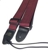 A Guitar Strap Burgundy Maroon Adjustable Acoustic Electric Bass Mandolin Made In USA