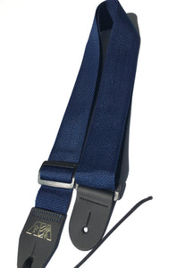 A Guitar Strap Navy Blue Nylon Adjustable Acoustic Electric Bass Mandolin Made In USA