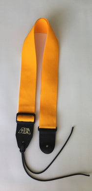 A Guitar Strap GOLD Nylon Solid Leather Ends For Acoustic & Electric Made In U.S..A.