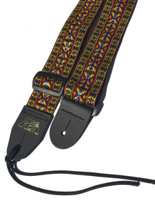 A Guitar Strap Golden Woven Nylon Adjustable Acoustic Electric Mandolin Made USA
