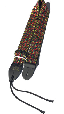 A Guitar Strap Black Burgundy Woven Nylon 60's Hootenanny Style For All Acoustic & Electric & Mandolin Made In U.S.A.