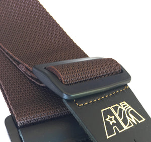 A Guitar Strap Brown Nylon Solid Leather Ends Fits All Acoustics & Electrics, Bass & Mandolins Made In USA