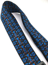 Guitar Strap BLACK BLUE BROWN WOVEN Nylon Leather Ends Fits All Acoustic & Electrics Made In USA