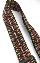 Guitar Strap Black Burgundy Golden Woven Nylon Solid Leather Ends For Acoustic & Electric Made In U.S.A.