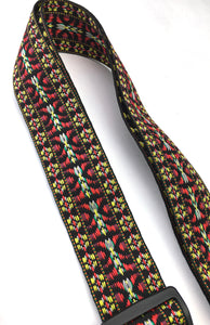 A Guitar Strap Black Burgundy Woven Nylon 60's Hootenanny Style Adjustable Acoustic Electric Bass Mandolin Made In USA
