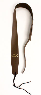 Christian Guitar Strap Brown Leather Gold Fish Fits All Acoustic & Electric & Bass Made in USA