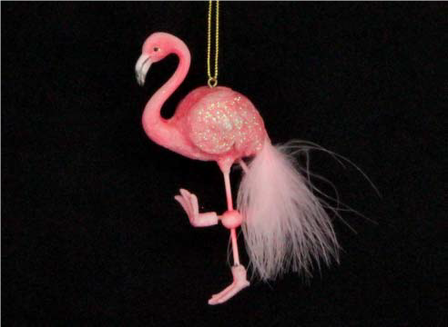 Pink Feather Flamingo Tree Decoration