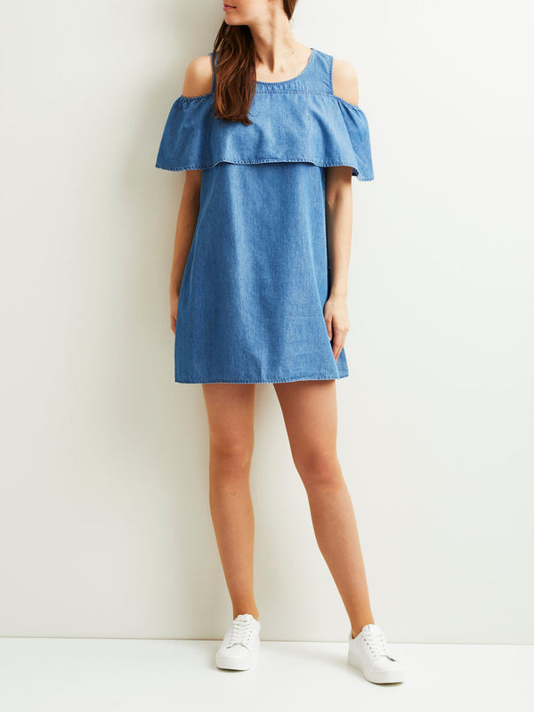 VILA Viliama Denim Shoulder Detailed Short Dress