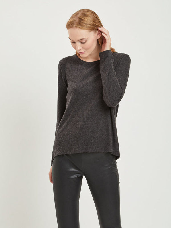 VILA O Neck Grey Long Sleeved Top | Wysteria Lane