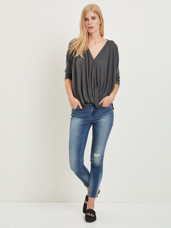 VILA Vinexa Pink Wrap Top | Wysteria Lane Boutique