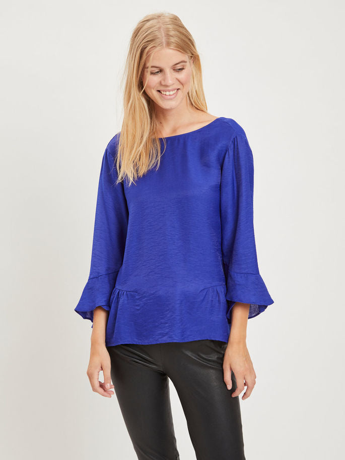 Vila Ruffle 3/4 Sleeved Top | Wysteria Lane