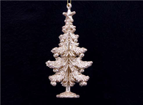 Pale Gold Acrylic 3-D Christmas Tree Dec