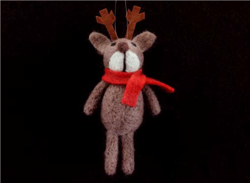 Wool Reindeer w Red Scarf Dec