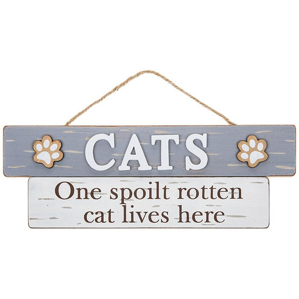 Cats - One Spoilt Rotten Cat Lives Here Wooden Plaque