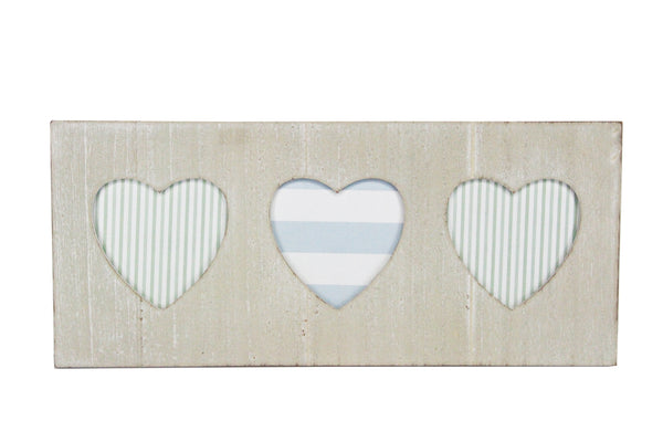 White Wash Wood Triple Heart Picture Frame 46x20cm