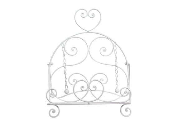 White Metal Scroll Heart Recipe Stand
